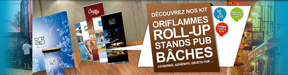 Signalétique : Oriflammes, Roll-up, Stands pub, Bâches, Covering, Adhésifs - Agence de communication en Savoie : Créalp