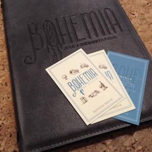 Cartes de visite et Menus cuir - Bohémia Bar